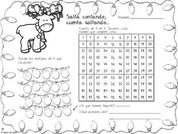 Patrones numéricos - 100 Chart Spanish Activities - Number Patterns