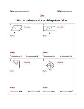 Areas and perimeters of quadrilaterals-Quiz