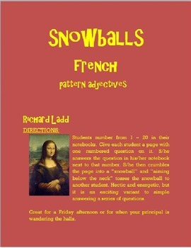 Pattern Adjectives Snowballs FRENCH