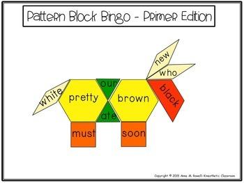 Pattern Block Bingo: Primer Sight Word Edition