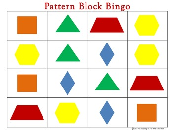 Pattern Block Bingo  **Review Shapes and Colors Pre-K and Elementary