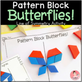 Pattern Block Butterflies Line of Symmetry Center with Work Mats and Task Cards