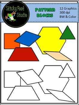 Pattern Block Clip Art For Math - Color and BW