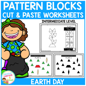 Pattern Block Cut & Paste Worksheets: Earth Day