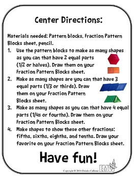 Pattern Block Fraction Center Recording Sheet and Self-Guided instructions
