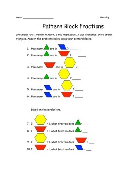Pattern Block Fractions Centers