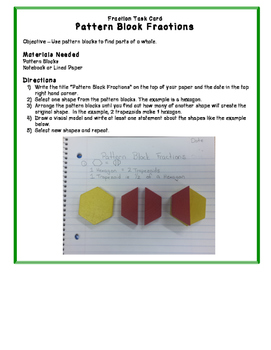 Pattern Block Fractions Task Card - Math Centers