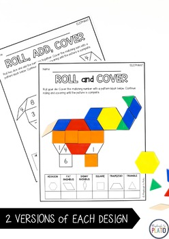 Pattern Block Mats - Roll and Cover (Distance Learning)