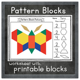 Pattern Block Picture Worksheet with Printable Block Outlines | Math Center