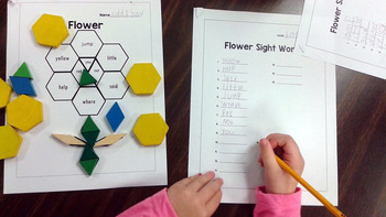 First Grade Literacy Centers with Pattern Block Designs {8 Pictures!}