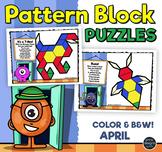 Pattern Block Puzzles • Math Shape Puzzles • April Monster Month Theme
