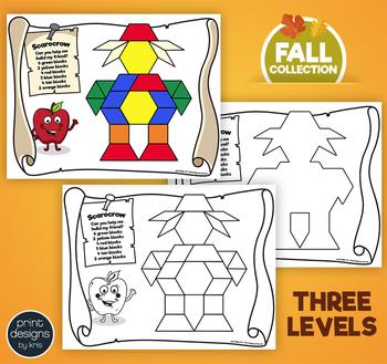 Pattern Block Puzzles • Math Shape Puzzles • Autumn Thanksgiving Theme