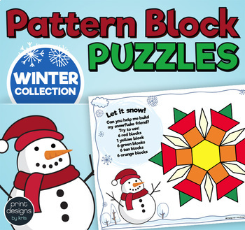 Pattern Block Puzzles • Math Shape Puzzles • December Holiday Theme