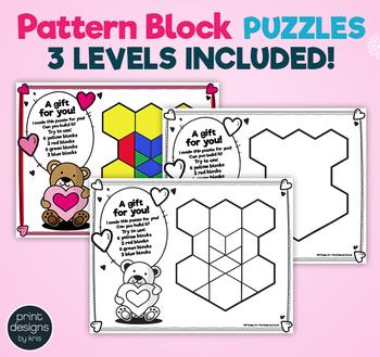 Pattern Block Puzzles • Math Shape Puzzles • February Winter Theme