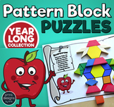 Pattern Block Puzzles • Math Shape Puzzles • GROWING YEAR LONG BUNDLE