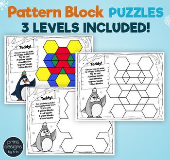 Pattern Block Puzzles • Math Shape Puzzles • January Winter Theme