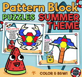 Pattern Block Puzzles • Math Shape Puzzles • Summer Theme