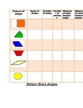 Pattern Block Recording Sheet