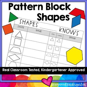 Pattern Block Shapes Math Sheet