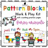 Pattern Block Work & Play Cards FARM ANIMALS