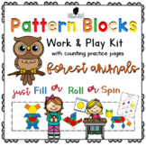 Pattern Block Work & Play Cards FOREST ANIMALS + Counting Practice Pages