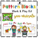 Pattern Block Work & Play Cards ZOO ANIMALS
