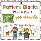 Pattern Block Work & Play Cards ZOO ANIMALS