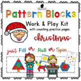Pattern Block Work & Play Cards for CHRISTMAS + Counting Practice Pages