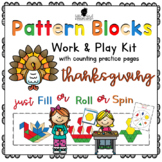 Pattern Block Work & Play Cards for THANKSGIVING + Counting Practice Pages