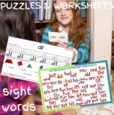 3 Letter Sight Word Pattern Block Puzzles & Worksheets