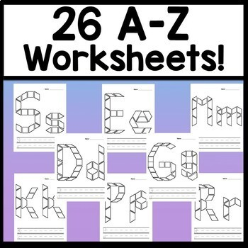 Alphabet Activities for Kindergarten Centers with Pattern Blocks {26 Pages A-Z!}