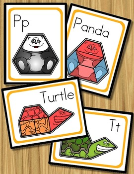 Pattern Blocks - Animal Alphabet (Shapes, Letters, Counting, & Number Bonds!)