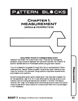Pattern Blocks: Chapter 1: Measurement: Investigating Perimeter, Area and Angles