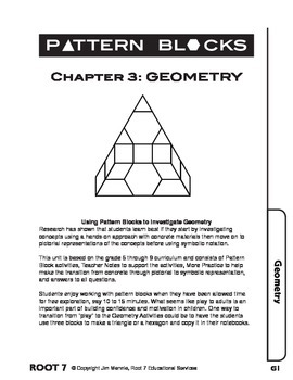Pattern Blocks: Chapter 3: Investigating Shapes and Their