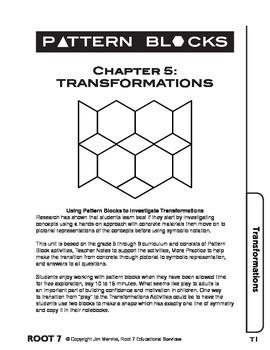 Pattern Blocks: Chapter 5: Transformations-Reflections, Ro