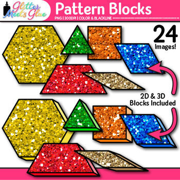 Pattern Blocks Clip Art {Counting and Sorting Manipulatives for Math Centers}