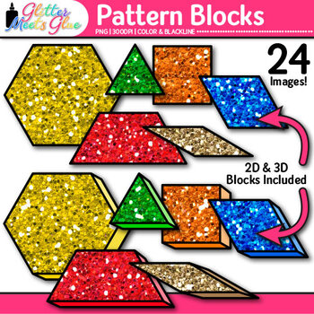 Pattern Blocks Clip Art: Counting and Sorting Graphics {Glitter Meets Glue}