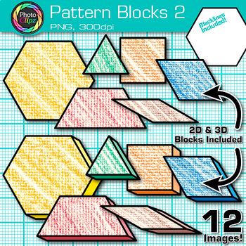 Pattern Blocks Clip Art {Counting and Sorting Manipulatives for Math Centers} 2