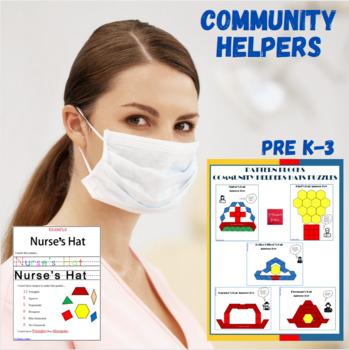 Pattern Blocks Community Helpers Hats Puzzles