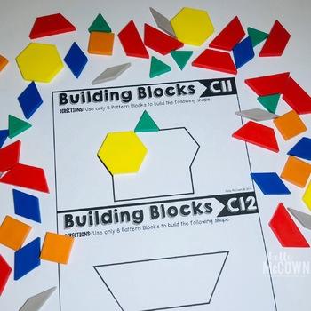 Pattern Blocks Elementary Math Task Cards (Set 2)