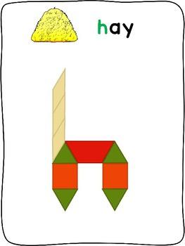 Pattern Blocks - Fall - English - letter formation activity mats