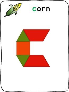 Pattern Blocks - Fall letter formation activity mats