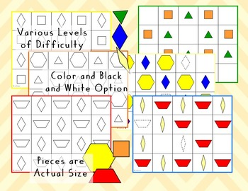 Pattern Blocks Pattern Sheets - Grid Work