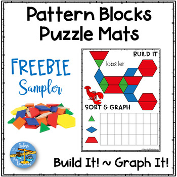 Pattern Blocks Puzzles Work Mats ~ ANIMALS ~ Graphing ~ Freebie