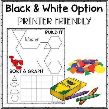 Pattern Blocks Puzzles Work Mats ~ ANIMALS ~ Graphing ~ Freebie