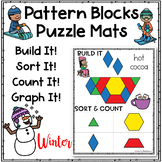 Pattern Blocks Puzzles Work Mats ~ Winter Activity Pictures - Task Cards