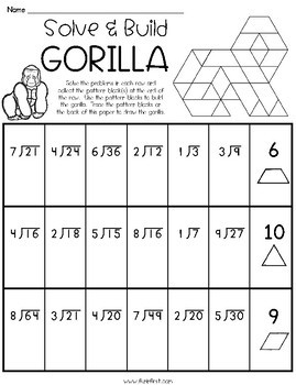Pattern Blocks Solve & Build - Multiplication/Division (Zoo Animals)