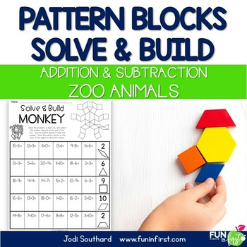 Pattern Blocks Solve & Build - Addition/Subtraction (Zoo Animals)