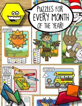Pattern Blocks Through the Year ~ the BIG Bundle of Pattern Block Puzzles
