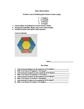 Pattern Block's fraction review